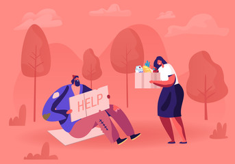 Homeless Man Sitting on Ground with Nameplate. Male Beggar Character with Sign Cardboard Ask for Help. Woman Volunteer Giving him Box with Donation. Poverty Concept Cartoon Flat Vector Illustration