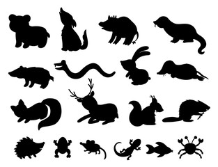 Set of vector hand drawn flat woodland animals silhouettes. Funny animalistic collection. Cute black and white forest illustration for children's design, print, stationery.