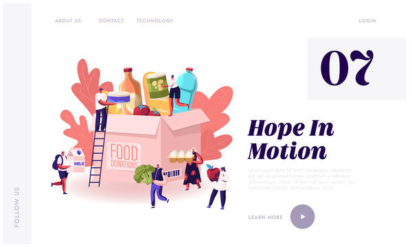 Volunteering and Charity Website Landing Page. Tiny People Filling Cardboard Donation Box with Food and Products for Help to Poor People in Shelter Web Page Banner. Cartoon Flat Vector Illustration