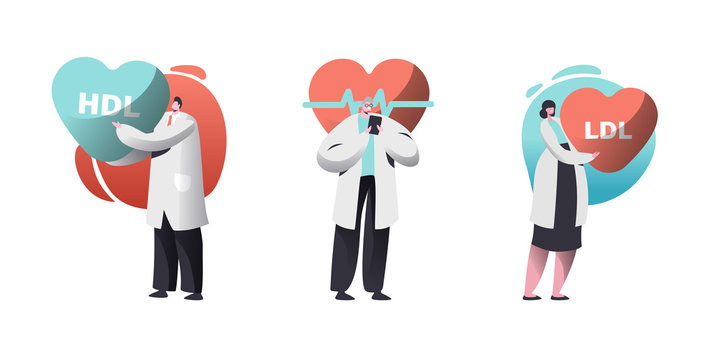Cardio Healthcare Set with Male and Female Cardiology Doctors Checking Patient Pulse Heart Rate or HDL LDL High and Low Density Lipoproteins Rate. Health Care Workers. Cartoon Flat Vector Illustration