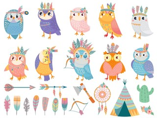 Wild tribal owl. Cartoon owls with tribals feathers, forest birds and arrows. Flower wreath, feather and dreamcatcher. Wildlife ethnic owlet characters isolated vector icons set