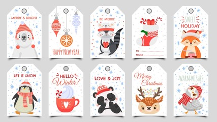 Cute animals christmas tags. Holiday gift tag with winter owl, deer and bears. Happy animal celebrate xmas label, 2020 new year greeting or invitation card. Isolated cartoon vector icons set