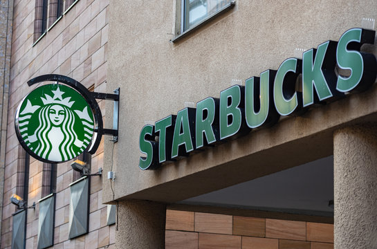 Nuremberg, Germany - October, 2019: Starbucks sign and name at a store in Nuremberg city center