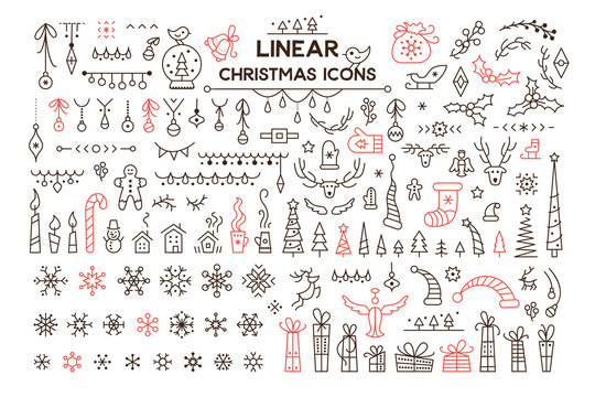 Winter holidays decoration vector linear illustrations set