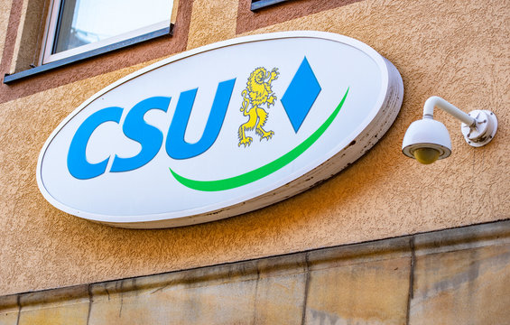 Nuremberg, Germany - October, 2019: CSU sign of Christlich Soziale Union, political parliament party in Bavaria, front view of party office in Nuremberg