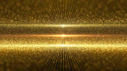 Futuristic virtual stage golden particles and elegance lights abstract glittering pattern for stage performance show and video jockey loop background