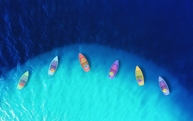Foto auf Acrylglas Turkis Boats from air. Aerial view on sea. Summer seascape with clear water in sunny day. Top view of boats from drone. Summer seascape from air. Travel - image