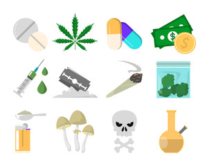 Fototapeta Narcotic drugs collection vector isolated. Cannabis, cigarette obraz
