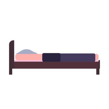 Bed side view vector bedroom cartoon furniture home. Sleep interior hotel rest. Flat duvet simple flat apartment