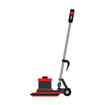 Floor buffer service machine cleaner equipment. Vector business washing janitorial home. Mop cleanup scrubber store
