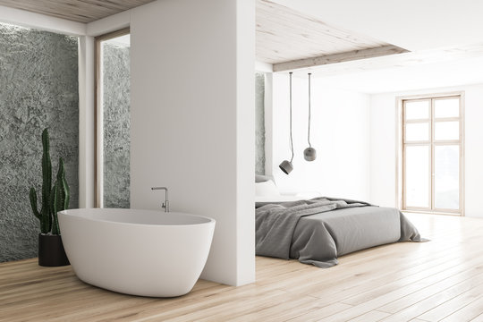 White and gray bedroom and bathroom corner