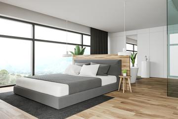 White master bedroom and bathroom interior