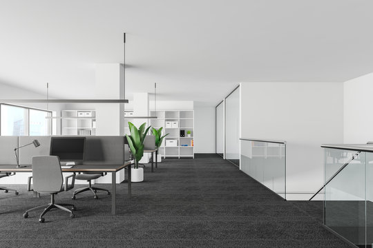 White and glass office interior