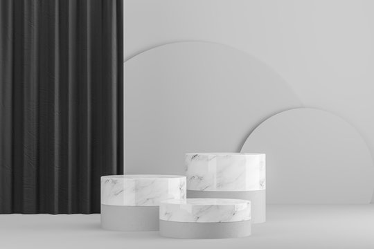 White and marble tables for product display