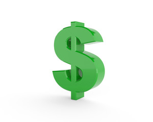 3D generated dollar sign with green color isolated on white background.