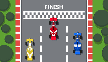 Fotorollo F1 Race track car top view vector line road illustration background. Rally prix sport poster team. Red formula flyer competition finish. Grand winner vehicle speedway auto. Highway championship