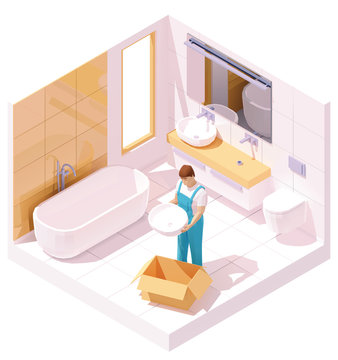 Vector isometric plumber installing sink in bathroom