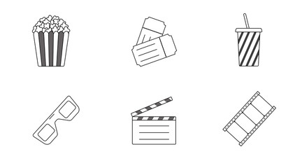 Black/white icons - movies theme. Popcorn, tickets, drink, 3d glasses, clapperboard and film.