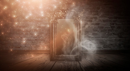 Fotomurales - Dark room, a magical antique mirror. Night view of the room, fantasy. Dark abstract background with a mirror. Neon light, smoke, smog, magic dust.