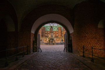 Printed roller blinds Narrow alley Hillerod, Denmark, Frederiksborg Castle: One of the recognized masterpieces of the Scandinavian Renaissance. Evening landscape with castle in autumn