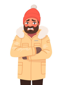 The man is frozen and trembling. Cold weather. Winter. Vector illustration