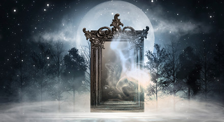 Printed kitchen splashbacks Gray traffic Dark fantasy landscape. Dark forest, magic mirror. Dark scene of a night landscape with a split glass. Night view, smoke, smog, neon light, moon.