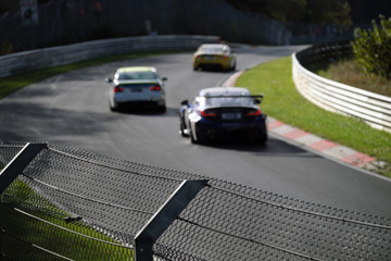 Race track Nürburgring Nordschleife and racing cars in autumn 2019 - Stockphoto