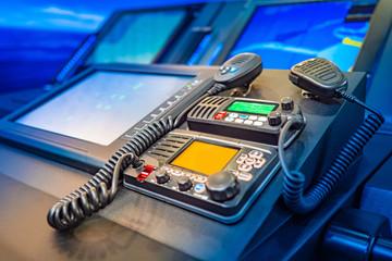 Work with a radio station. Providing communication. Radio station at the enterprise. Professional radio stations. The wireless station on the ship. Radiocommunication.