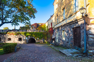 Finland Helsinki. Fortress Suomenlinna. Sveaborg. Finnish fortress on a summer day. Road for horse carts. Helsinki city tours. Wolf skerries in Finland. Ferry to Sveaborg fortress. Northern Europe