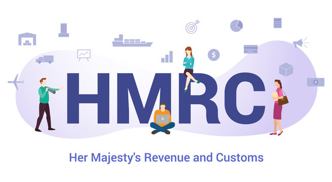 hmrc her majesty revenue and customs concept with big word or text and team people with modern flat style - vector