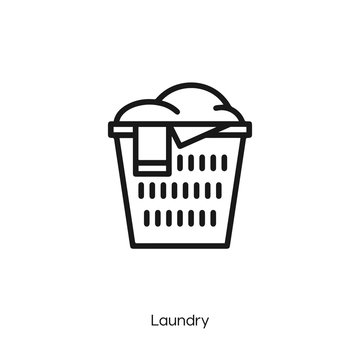 laundry icon. laundry vector symbol. Linear style sign for mobile concept and web design. laundry symbol illustration. Pixel vector graphics - Vector