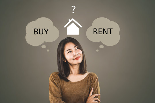 Asian woman thinking buy or rent home concept