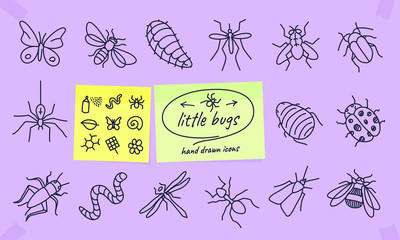 Bugs insects icon set vector thin line drawings . Illustration with spider, ant, butterfly, mosquito, fly, worm, cocoon, dragonfly, wasp, bee. pictogram. Editable stroke