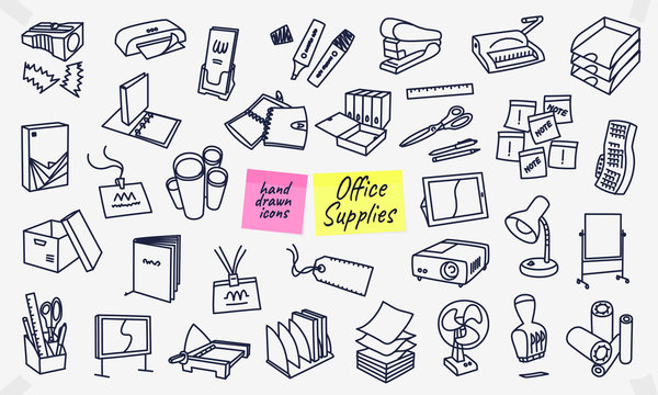 Office supplies hand drawn icons, doodles, sketches. Full vector illustrations with editable strokes.