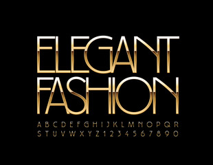 Vector Golden Sign Elegant Fashion. Elite slim Font. Chic Alphabet Letters and Numbers.