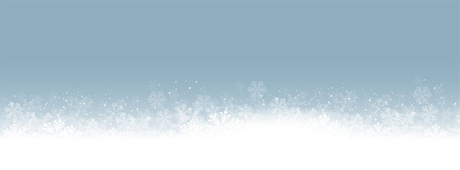 Panorama Blue Background white snowflakes vector illustration eps10