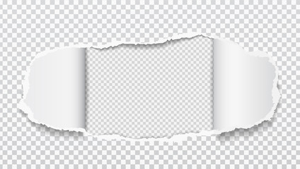 Torn realistic paper hole on squared transparent background. Vector illustrations