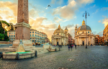 Deurstickers Rome Piazza del Popolo (People's Square), Rome, Italy. Churches of Santa Maria in Montesanto and Santa Maria dei Miracoli. Egyptian obelisk of Ramesses II. Rome architecture and landmark.
