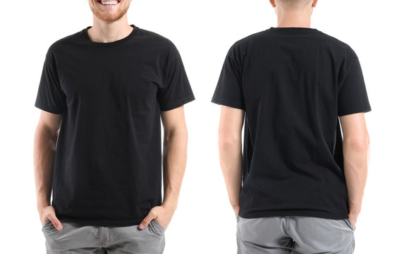 Man in stylish t-shirt on white background. Front and back view