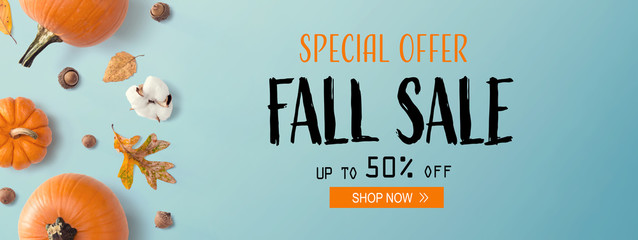 Fall sale banner with autumn pumpkins with leaves