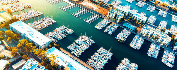 Aerial view of the Marina del Rey seaside community in Los Angeles Wall mural