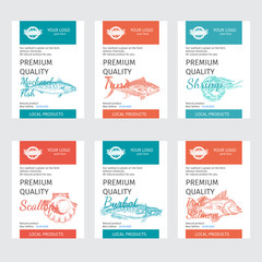 Packaging for seafood. Label for boxing natural products. Sabrefish.