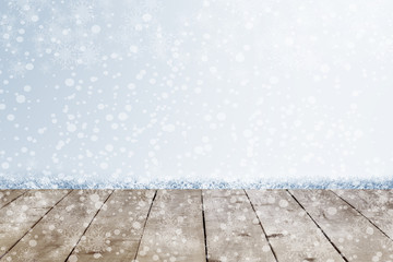 Snow christmas on old wood texture background.