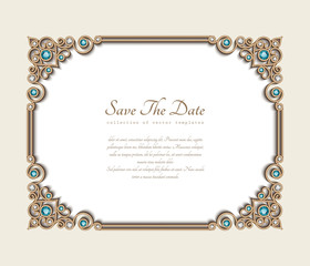 Vintage photo frame, save the date card with jewellery corner patterns, jewelry gold decoration with diamonds and emerald gems, wedding invitation template with place for text