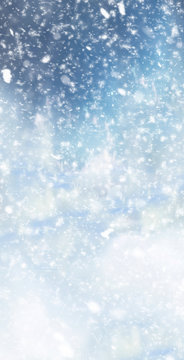 Abstract winter christmas background with shiny snow and blizzard. Space for text. Vertical for stories