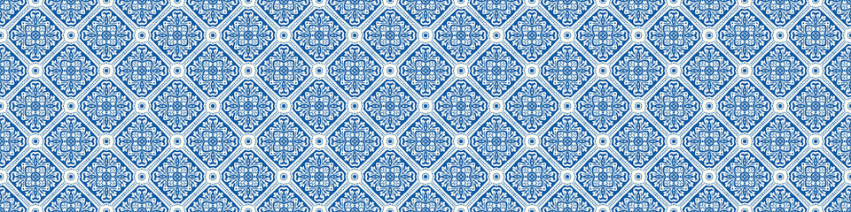 Portuguese Mosaic Tile Seamless Border Pattern. Ceramic Azulejo Style. Tiled Motif Graphic Banner. Traditional Portugal Tourism Ribbon Trim.Travel Brochure Background. Packaging Design Vector EPS 10