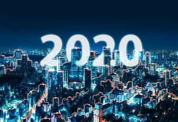 Wall Mural - New year 2020 Network and Connection city of Japan
