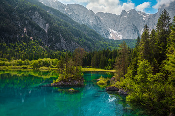 Wall Mural - Julian Alps landscape with lake Fusine and Mount Mangart, Italy
