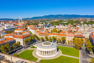 Aerial drone view of Mestrovic pavilion, monumental art gallery and city centre on sunny summer day, Zagreb, Croatia