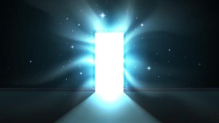 Obraz Light from the open door of a dark room, attractive hypnotic light tentacles, abstract mystical glowing exit. Open door template, background, mock up - fototapety do salonu